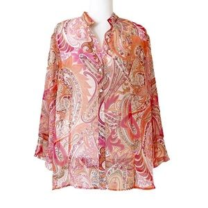 Investments Sheer Floral Paisley Blouse Size 2X
